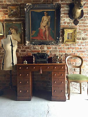 Fabulous Antique Desk Twin Pedestal Walnut Victorian19th Century With Chair