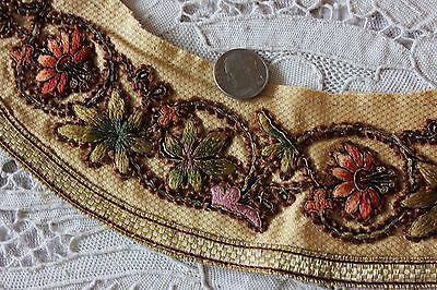 French 19thC Antique Silk & Metallic Hand Embroidered Collar Or Cuff~Dolls