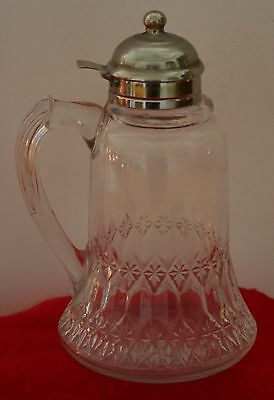 Vintage Rare Pressed Glass Syrup