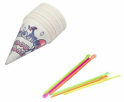 Perfect Stix Snow Cone Spoon Straws and Cups-100ct Snow Cone Spoons with Flavors