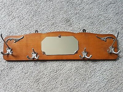Vintage French Teak wall mounted coat hooks with mirror Art Nouveau style