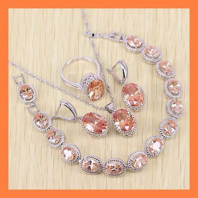 925 Sterling Silver Earrings, Ring, Necklace and Bracelet Orange Morganite Set