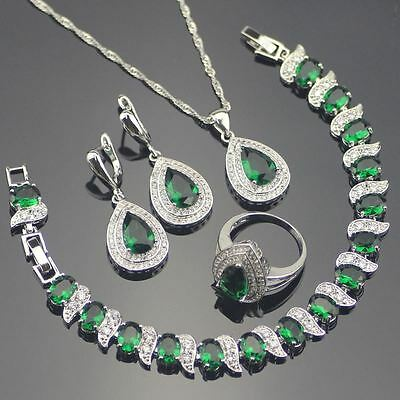 925 Sterling Silver Cubic Zirconia Set - Ring, Earrings, Necklace and Bracelet