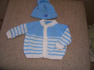 New Hand Knitted Baby Cardigan & Beanie Blue& White Stripe 9-12  Months App