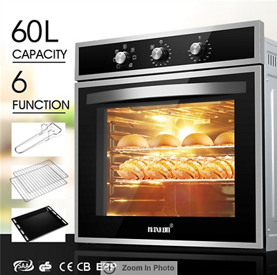Electric Convection 60CM Built in Wall Oven Grill Stainless Steel Fan Forced 6F