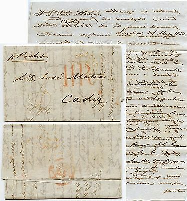 GB to SPAIN 1856 LETTER to CADIZ...11R in RED + LONDON PAID