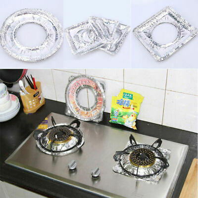 10pcs Aluminum Foil Gas Stove Cover Protector Liners Perfect Kitchen Clean Tool