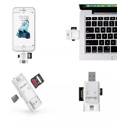 3in1 TF SD iReader Adapter Lightning Micro USB iOS iPhone Android +128gb TF Card