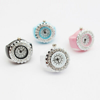 Elegant Women Girls Ladies Crystal Ring Steel Stretchy Quartz Finger Watch Gift