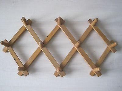 Vintage wooden expandable/concertina coat /hat wall hanger/rack 10 pegs