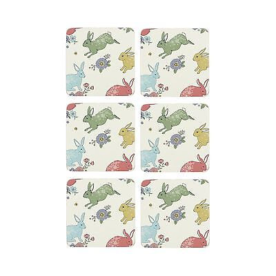 At Home With Ashley Thomas Pack Of 6 Multi-Coloured Bunny Print Coasters