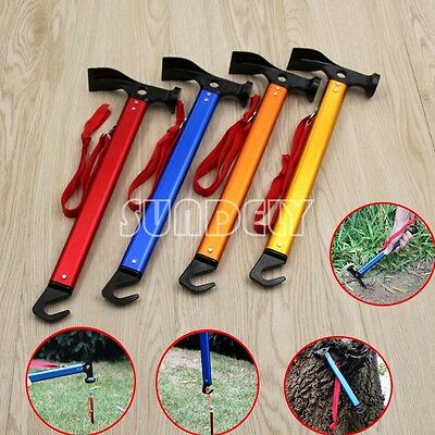Brand New Multifunction Camping Mallet Hammer for Tent Pegs Red Blue Gold Orange