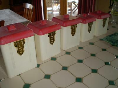 Vintage art deco Bakelite Canisters set of 5  rare & Collectable  retro country