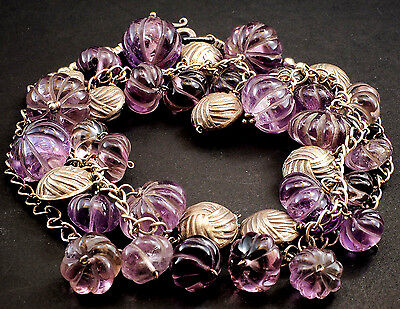 BEST GRADE! NATURAL AMETHYST CARVED MELON Sterling Silver Cabbage Bead Necklace