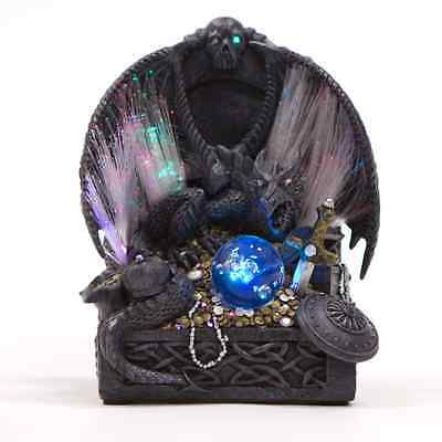 Mystical Black Dragon on Treasure with 7 Colours Light Up Fiber Optics 22cm