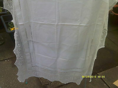 "Antique Linen Drawn Thread Work Tablecloth 32"" X  52"" Crochet Lace 5"""