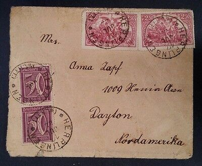 VERY RARE 1922 Germany Cover ties 4 stamps canc Herrlingen to USA