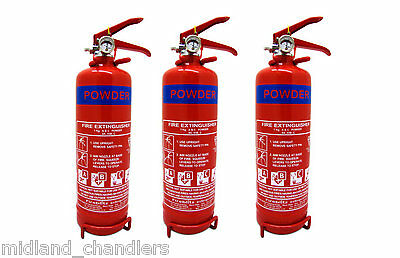 3 x Dry Powder Fire Extinguisher 1kg (8A 55B) Narrowboat/Canalboat/Boat Safety