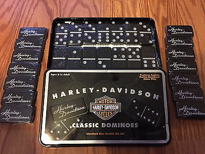 NEW Harley Davidson Classic Dominoes Double Six Set In Tin HD Motorcycles Black