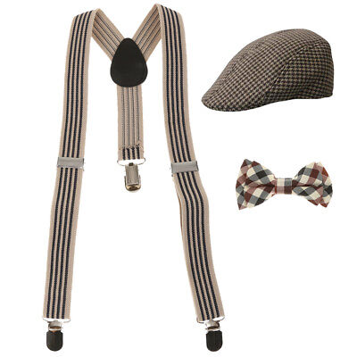 Fashion Kids Boys Stretchble Y-back Suspender Bowtie +Beret Cap Flat Hat Set