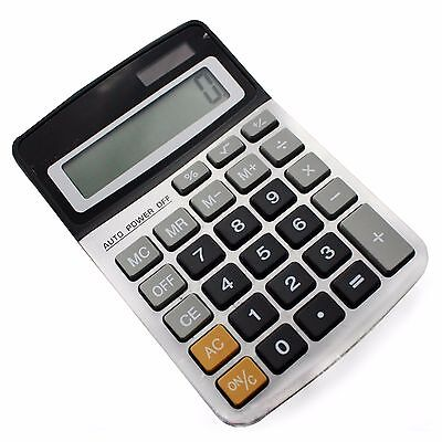 Dual power electronic calculator solar and battery powered batteries included