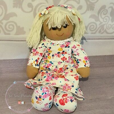 Personalised embroidered rag doll, flowers, new baby. christening, 40cm