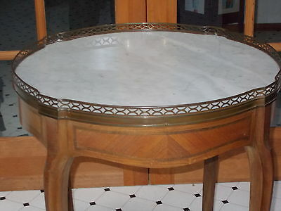 Antique Carved French Louis XV  Style Marble Top Round End