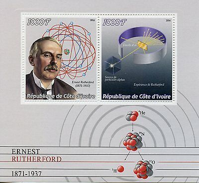 Ivory Coast 2016 MNH Ernest Rutherford 2v M/S Physics Science Stamps