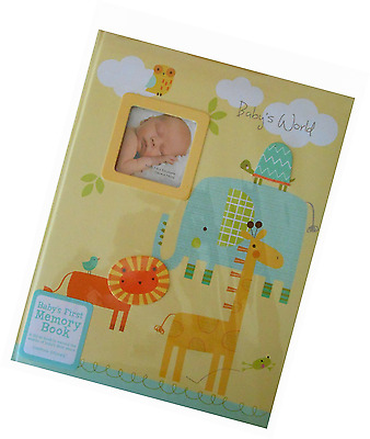 """Stepping Stones """"Baby's World"""" First Memory Book Animals Theme Yellow"""