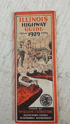 "1929 ILLINOIS HIGHWAY GUIDE (9.5"" x 3.5"" antique IL map) RARE: ONLY 1 IN STOCK!"