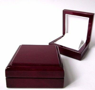 Luxury Classy Wood Mahogany Rich Gloss EARRINGS Jewellery Gift Box-Antique Style