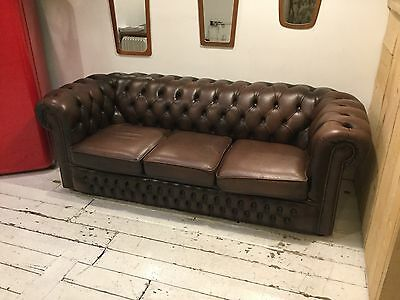 Vintage Brown Chesterfield 3 seater in great condition