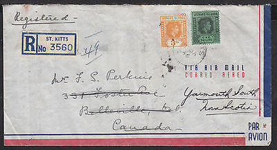 ST. KITTS #109,111 on 1946 REGISTERED AIR MAIL WELL-TRAVELLED FORWARD COVER