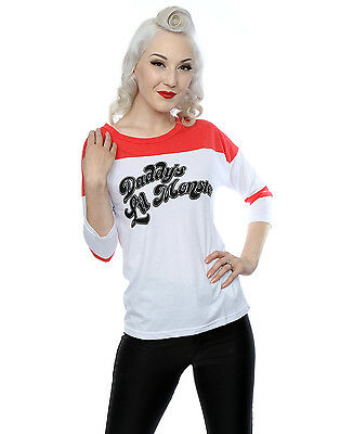 Suicide Squad Women's Harley Quinn Daddy's Lil Monster 3/4 Sleeve Baseball Shirt