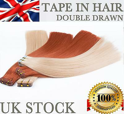 """16"""" 18'' 20""""  Tape In Skin Weft Remy Human Hair Extensions Seamless UK STOCK"""