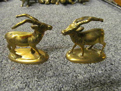 BEAUTIFUL PAIR OF ANTIQUE BRASS DEER  mantle ornaments brass hunting fox