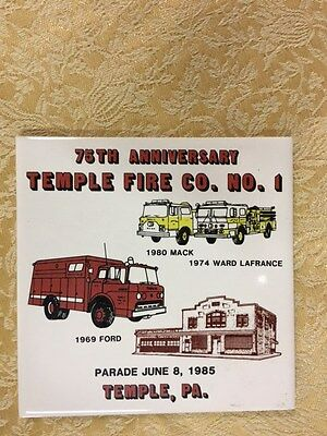 """Vintage Advertising 6"""" Tile 75th Anniversary Temple Fire Co No1. Temple, PA"""