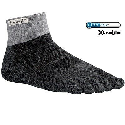 Injinji Performance 2.0 Trail MidWt MiniCrew CoolMax XLife Toe Socks Granite LG