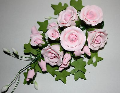 Tea Rose Spray, Sugar Flowers, Cake Topper, Gum Paste, Sugar Paste LARGE PINK.