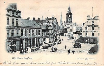 Early c1902 Vintage Postcard High Street Dumfries Scotland Reliable Series