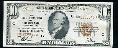 1929 $10 Frbn Federal Reserve Bank Note Philadelphia, Pa About Uncirculated.