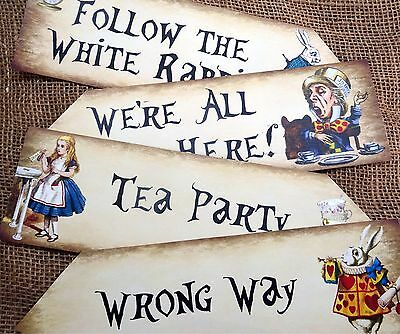 Set of 4 Colourful Alice in Wonderland Large Party Decoration Arrows