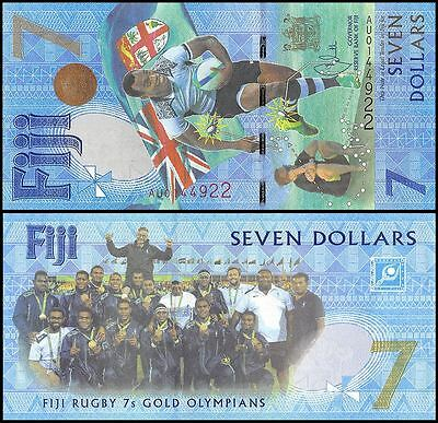 Fiji 7 Dollars, 2017, P-120, UNC,Rugby 7s Gold Olympians Summer Olympics  Brazil