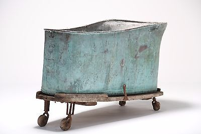 Rare Early Victorian Antique Copper Bath On Wheels Salvage Vintage French Bateau