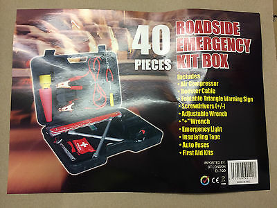 40 Piece Roadside Emergency Kit Car Carry Case Booster Wrench Light First Aid