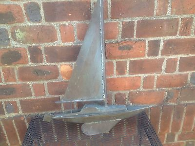 Antique Vintage Sailboat Copper Boat Weathervane Nice !!