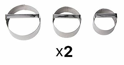"Fox Run Round Cookie Cutters, Set Of 3, Round 2"", 2.5"", & 3"" Biscuit (2-Pack)"