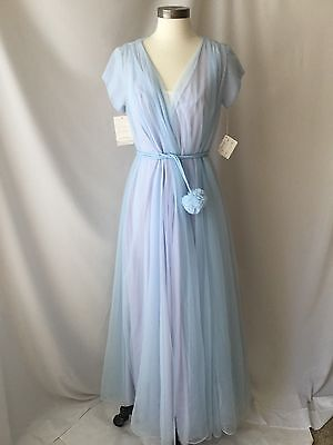 Lucie Ann Peignoir Set Baby Blue / Purple  Robe   Size 34 Flowing  Gown  Small
