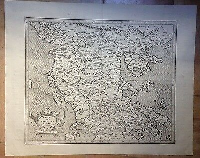 Macedonia Greece Gerard Mercator & Jodocus Hondius 1623 Large Antique Map