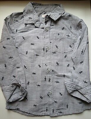12M Cat & Jack Baby Toddler Boys Button Down Robot Shirt NWT